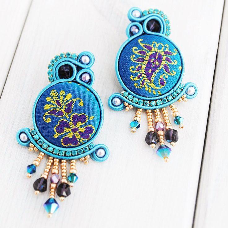 Soutache with swarovski elements earrings.
