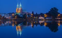 View of the Cathedral of Gniezno from the lake Jelonki