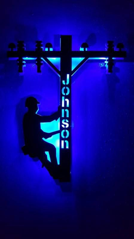 Super Cool battery operated Led lighted! CUSTOM NAME DOWN CENTER POLE. PLEASE LEAVE NAME IN NOTES. Hand Made in the USA ! Comes ready to hang! Comes with battery operated LED lights (3AA) Included Size 20 Long x 18 Wide Pick your Light color! Made of MDF Acrylic Paint for Easy