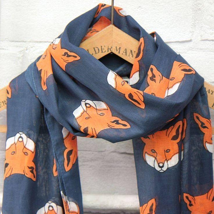 Navy fox scarf