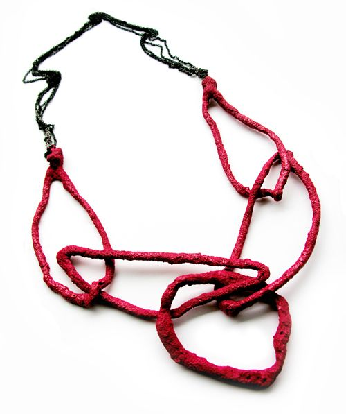 Liana Pattihis, Necklace, 2009    Necklace: Coral Red Link 04 2009  Silver Trace Chain, enamel  90 cm