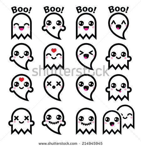 Kawaii cute ghost for Halloween icons set by RedKoala #boo!