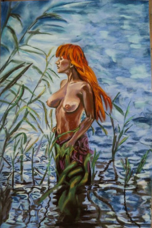 Buy Nymph river, Pastel drawing by Anna  Sasim on Artfinder. Original nude art for sale. Soft pastel art, pastelmat paper, woman drawing, woman painting.