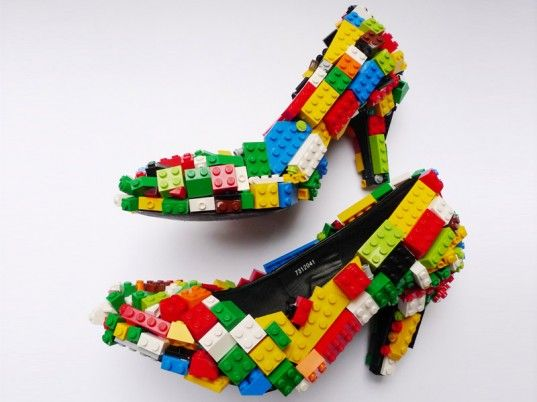 Stiletto high hells embellished with the multi-colored Lego blocks by Finn Stone