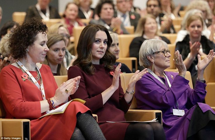 The Duchess sat between Place2Be's CEO Catherine Roche (left) and president Dame Benita Refson during the annual School Leaders Forum at UBS London