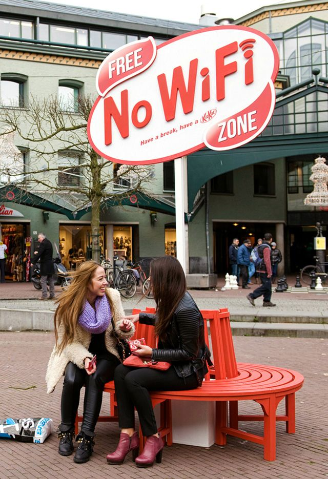 This Free No Wi-Fi Zone bench in Amsterdam actually does block Wi-Fi signals in the immediate area. It is part of an outdoor advertising campaign for Kit Kat by JWT Amsterdam.