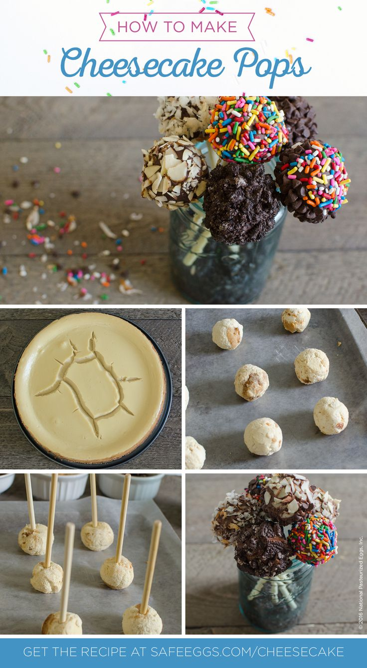Cheesecake fail? No worries! Transform your busted cheesecake into these yummy cheese cakepops. Learn how to turn your cheesecake flop into beautiful cheesecake pops at SafeEggs.com/blog.
