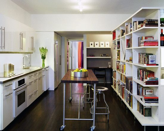 Apartment, A Wonderful Apartment Kitchen Design With A Counter Height  Rolling Island Table And Rounded