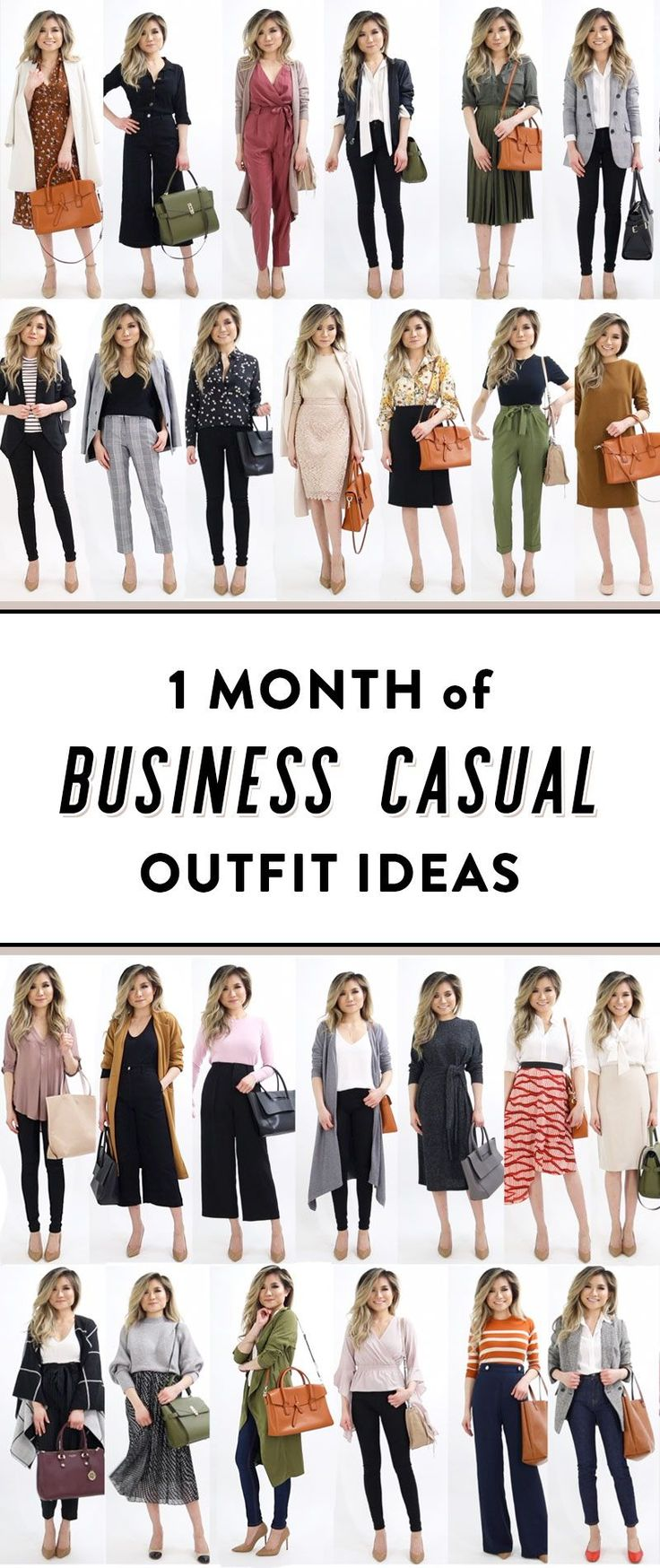 1 MONTH of Business Casual outfits for women. 20 office casual work outfits that will keep you inspired everyday of the month.
