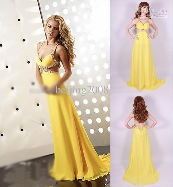 Wholesale Deep V-neck Chiffon A-line Evening Dresses Prom Gown Party Dress Beaded Backless Custom Made, Free shipping, $101.37-124.2/Piece | DHgate