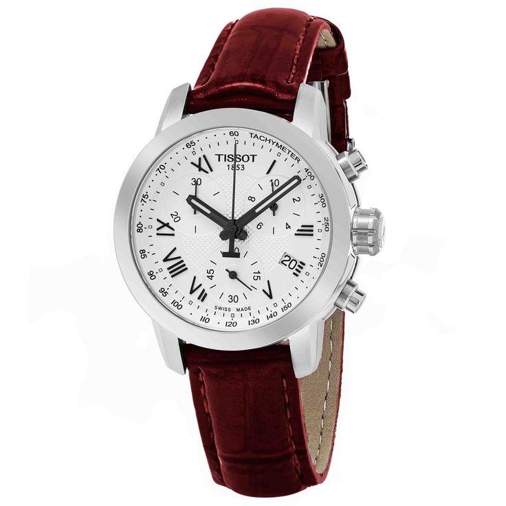 Tissot Women's T055.217.16.033.01 'PR 100' Dial Burgundy Strap Chronograph Swiss Quartz Watch