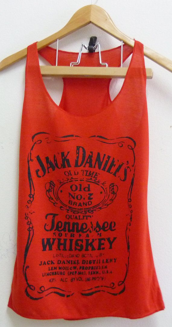 Red Jack Daniels whiskey sign Tank top size S/M by joArtwork, $12.50