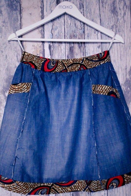 Sp�łdnica jeans z printem