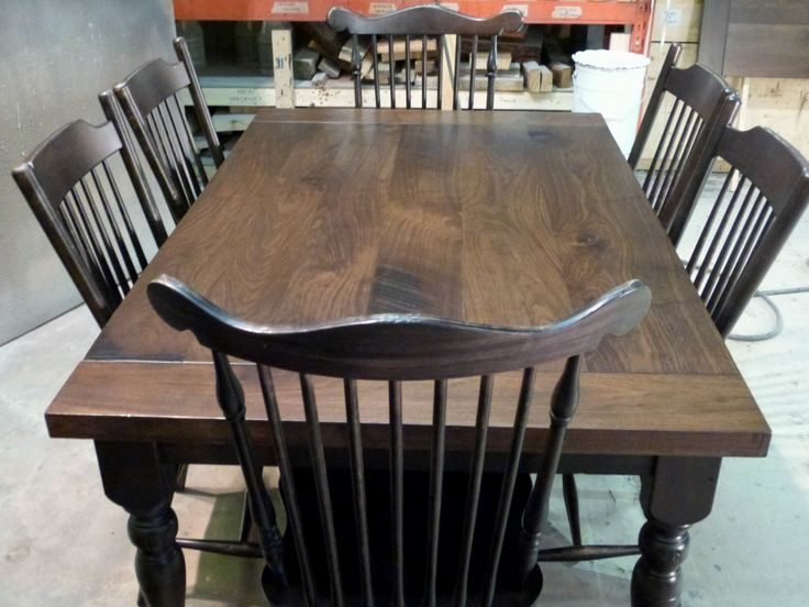Rustic Walnut Harvest Table Suite With Distressed Blackwood Chairs And Base