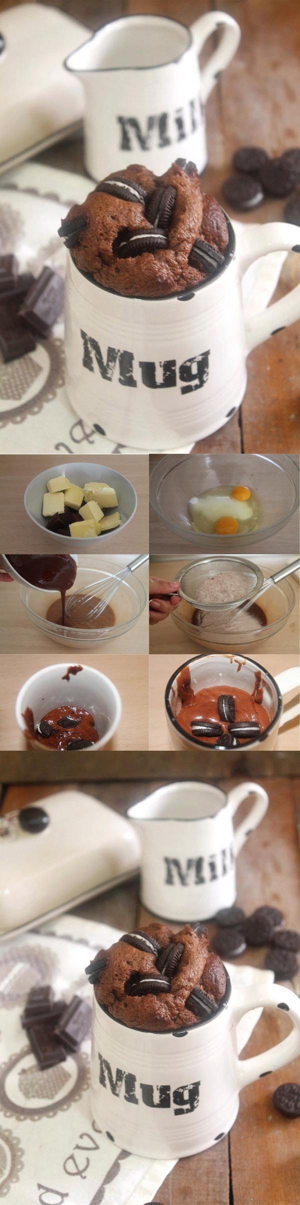 Mug cake de chocolate y Oreo / http://cakesparati.blogspot.com.es/