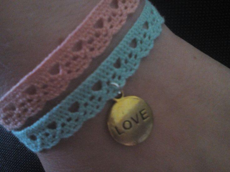 Light blue&pink-love summer bracelet:3