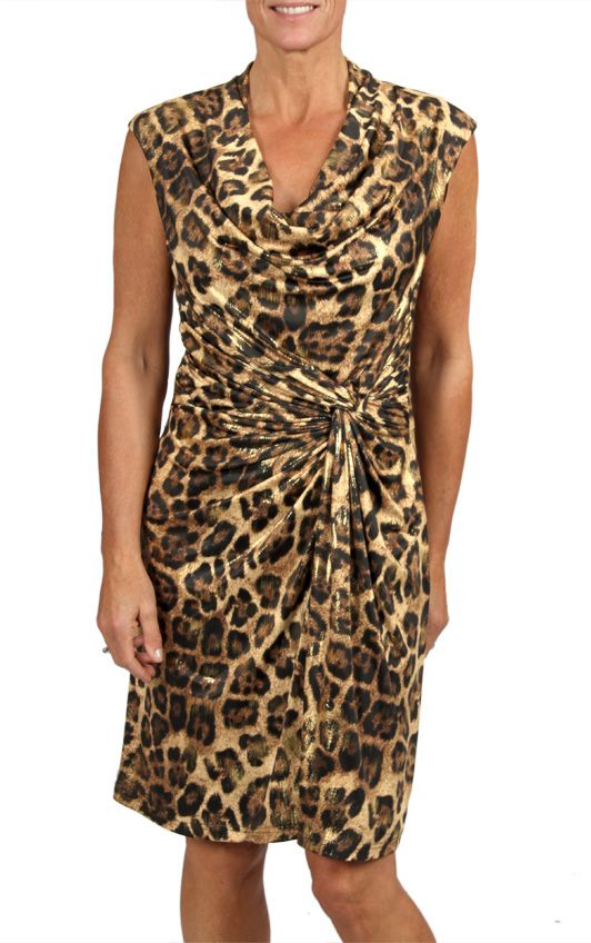 Cowl neck Animal Print Dress- available in 3 colors in a store near you and online at shop.cartise.com (in Canada only). #Animalprint #dress #womensfashion #fallfashion #Capsleeve #Cartise #Fall2013
