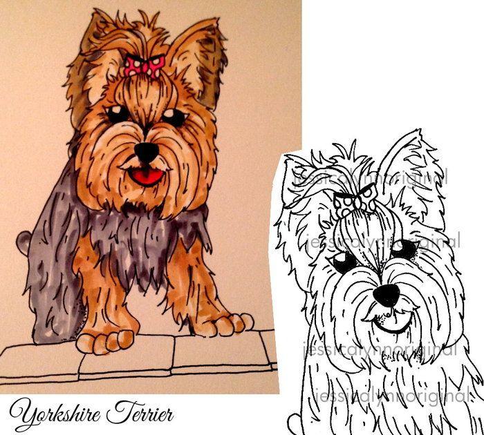 AKC Dog Breed Hand Drawn Rubber Stamp Project Sets by Jessica Lynn Mould » Updates — Kickstarter #YorkshireTerrier #Yorkie