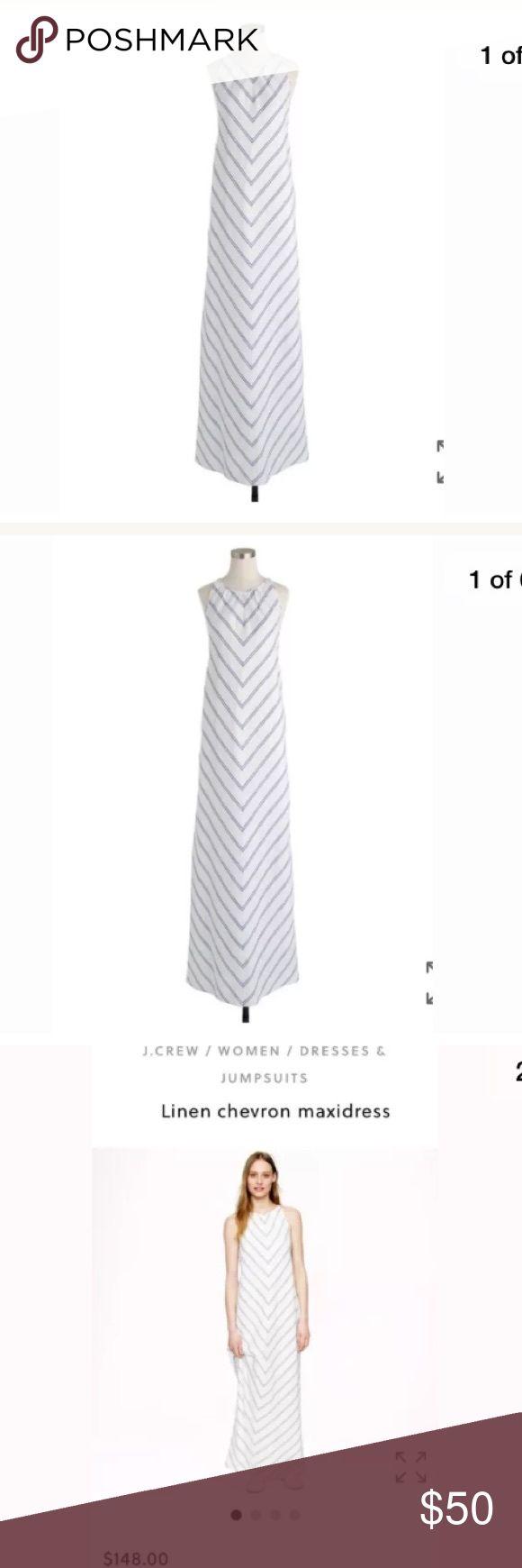 NWT J Crew Linen Chevron Maxi Dress  Sz 00 XS New With Tags J Crew Linen Chevron blue and white maxi dress. Size 00 XS. $148. J. Crew Dresses Maxi