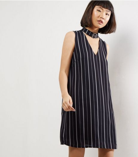 Black Stripe Buckle Choker Neck Sleeveless Tunic Dress | New Look
