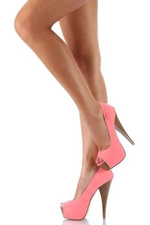 Coral Peep-toe High Heels