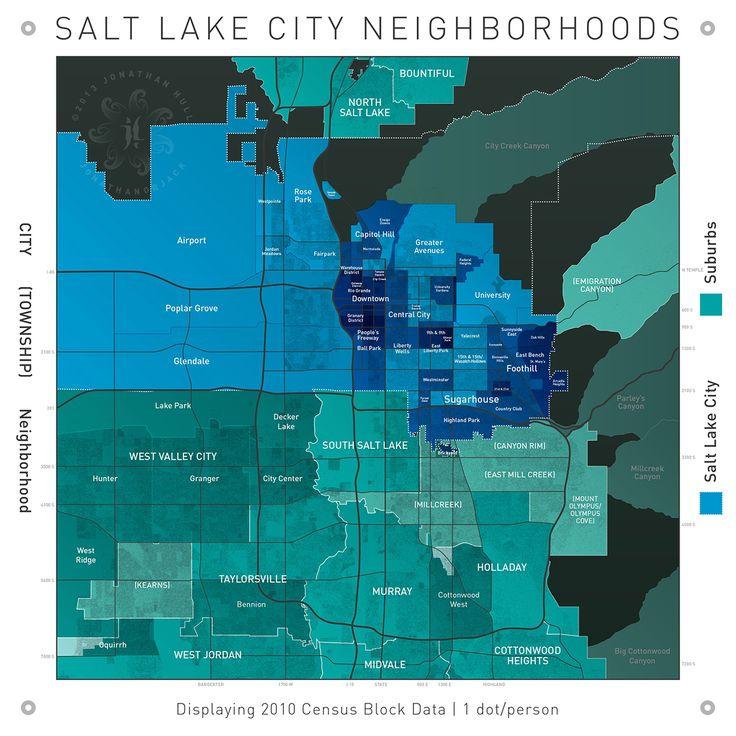 Salt Lake City Neighborhood and Population Map | jonathanorjack | geography, utah