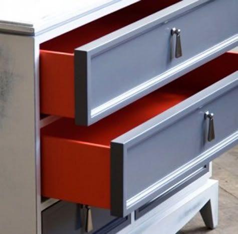 vintage grey dresser with red