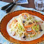 ワンポットで簡単!白菜とソーセージのクリームスープパスタ