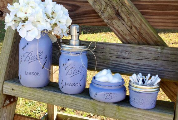 Mason Jar Bathroom Organization Set. Farmhouse Decor. Rustic Decor. Mason Jar Soap Dispenser. Vase. Painted Mason Jars. Rustic. Housewears.