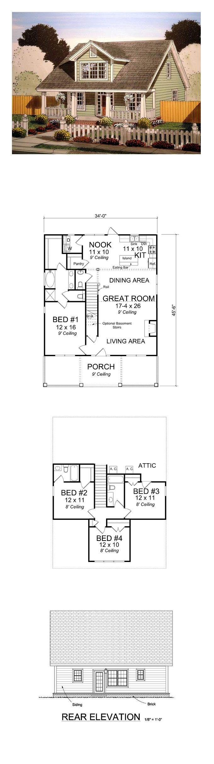Country House Plan 61403   Total Living Area: 1871 sq. ft., 4 bedrooms and 3.5 bathrooms. #countryhome