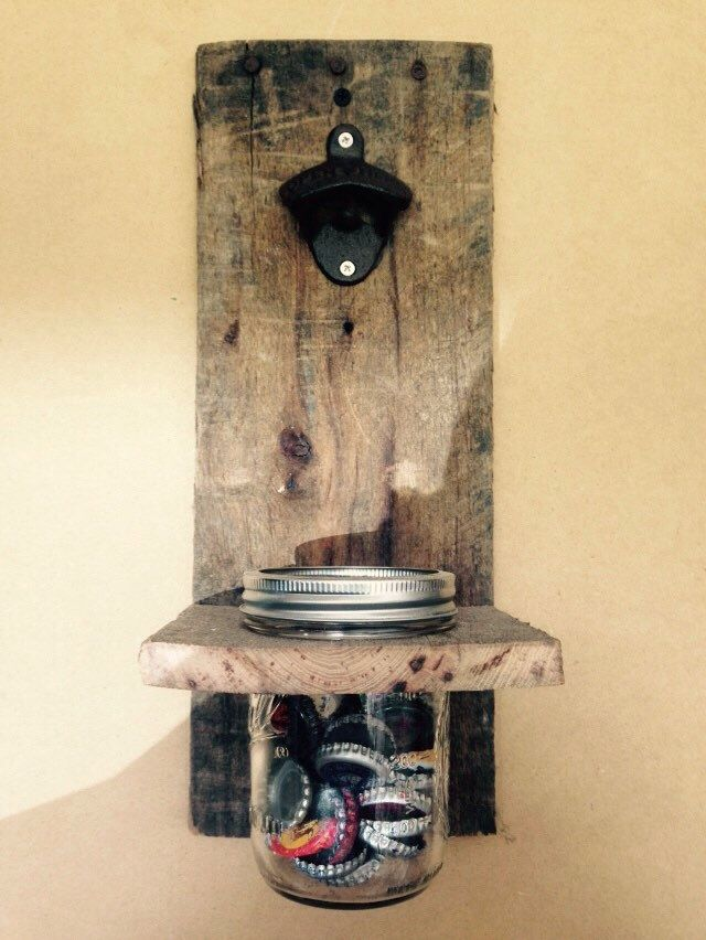 Handmade Recycled Wood Wall Mounted Bottle Opener with Mason Jar Catch All by ShineBoxPrimitives on Etsy https://www.etsy.com/listing/246557456/handmade-recycled-wood-wall-mounted