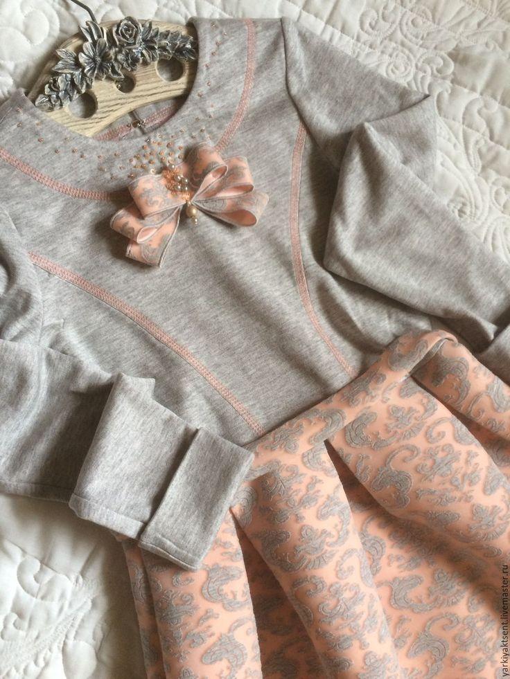 Купить Платье ПЛТ 1025 - серый, пейсли, Платье нарядное, платье для девочки, трикотажное платье