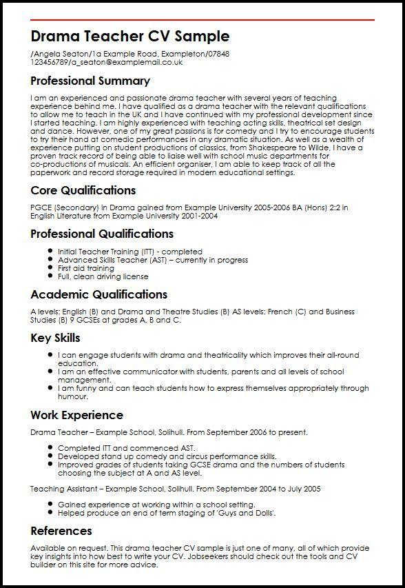 Drama Teacher CV Sample MyperfectCV Teacher cv