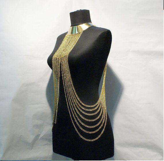 body chain body chain necklace gold body chain от BeyhanAkman