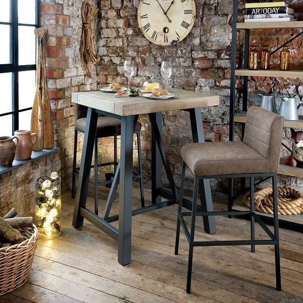Industrial Lansdowne Reclaimed Wood Bar Table and Chairs