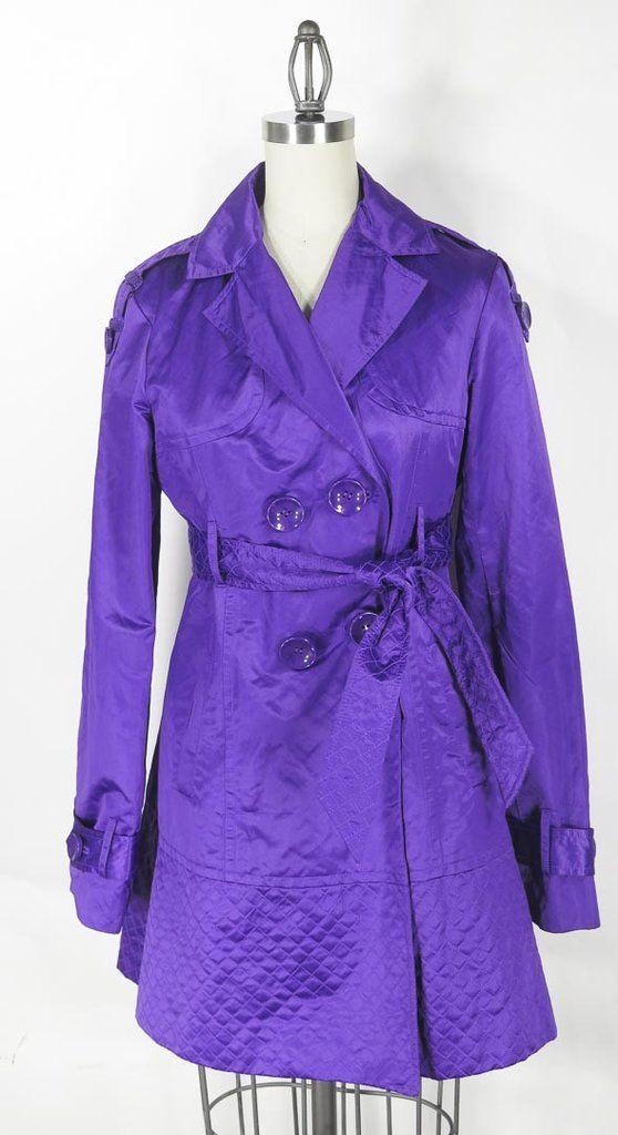 Kensie Purple Trench Coat Size M
