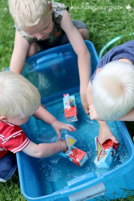 Floating boat craft for kids to make with juice boxes