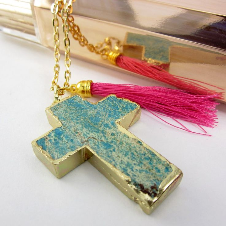 Collares mujer collar cadena ba o oro drusa cruz marmol for Banos electroliticos para joyeria