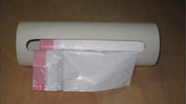 DIY PVC Trash Bag Dispenser.  Love this one.  Hate those loose rolls of different bags under the counter.