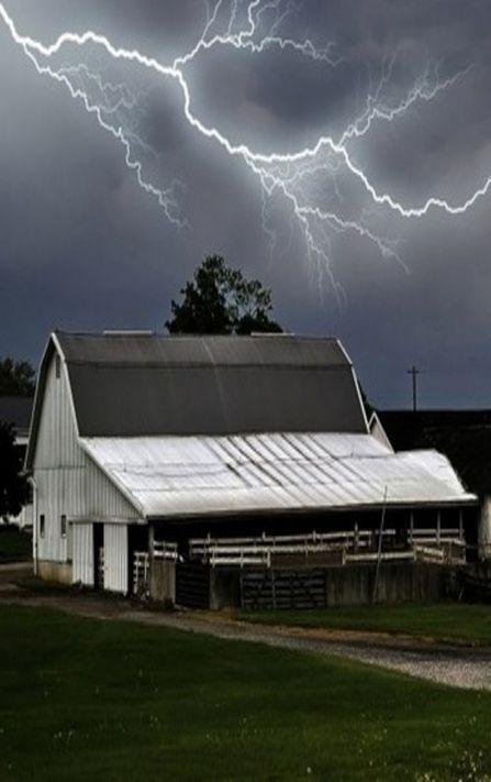 Lighting Storm Over Barn