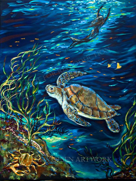 9 best images about sea turtle paintings on pinterest for Turtle fish paint