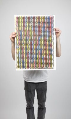 'Decipher' multiple coloured screen print.