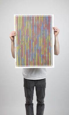 'Decipher' multiple coloured screen print.