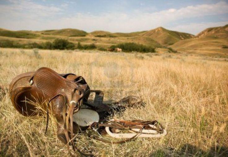 Een Western Zadel in de prairie