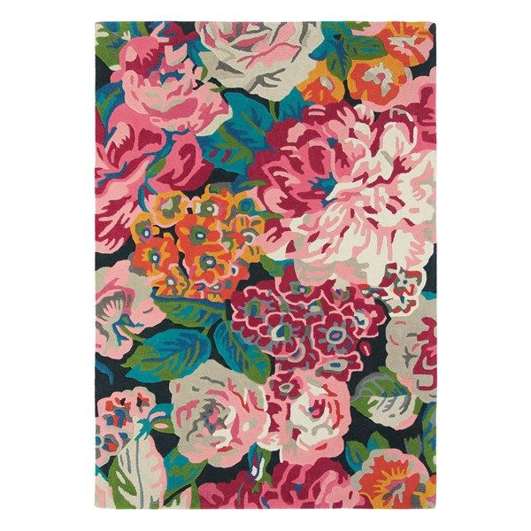 Rose & Peony Rugs 45005 in Cerise Pink by Sanderson - Free UK Delivery - The Rug Seller