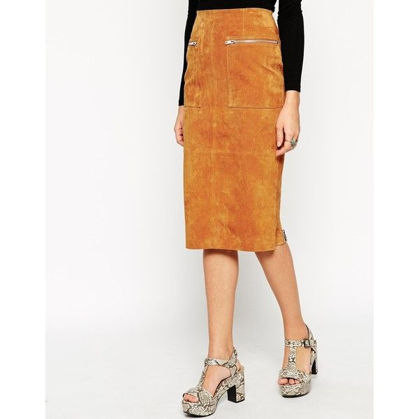ASOS Midi Pencil Skirt In Suede With Pockets And Curved Zip (53 CAD) ❤ liked on Polyvore featuring skirts, calf length skirts, suede skirt, white knee length pencil skirt, mid calf pencil skirts and calf length pencil skirts