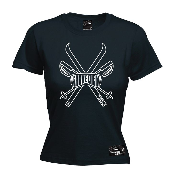 Powder Monkeez Women's Carve Diem Skiing Snowboarding T-Shirt