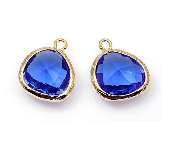 2pcs  Cobalt Blue Color and Gold Framed Glass Pendent / blue