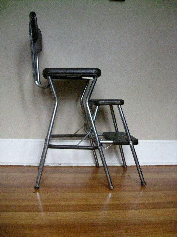 Vintage Dark Brown Cosco Step Stool Ladder Seat