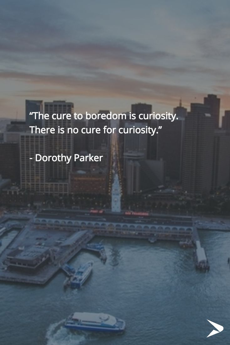 """""""The cure to boredom is curiosity.  There is no cure for curiosity.""""   - Dorothy Parker #curiosity #qotd"""
